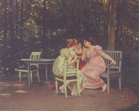 three ladies sharing secrets in the garden by pierre paul léon glaize