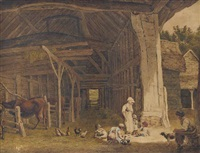 a rustic family in a barn (illustrated); ruins of dover priory; and cottages at breadwater by robert hills