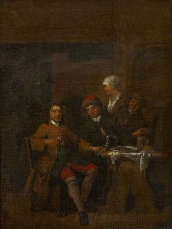 herrenrunde in der wirtsstube by jan baptist lambrechts