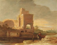 an italianate landscape with a horseman and a beggar on a track near ancient ruins by charles cornelisz de hooch