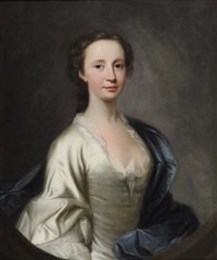 portrait of a lady, half length, wearing a cream satin dress and blue robes by james cranke