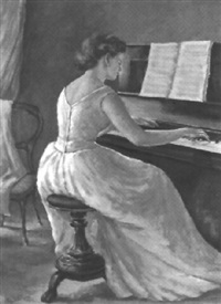 frau am klavier by giuseppe mastellaro
