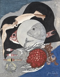 fish * abstract composition (2 works) by junichiro sekino