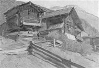 häuser eines alpendorfes mit weidezaun und gebirge by ferdinand henri maire