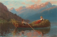 heimfahr am abend, westnorwegen (on the way back from work, western norway) by hans dahl