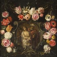 prendimiento y san jerónimo insertos en una orla de flores. (dos) by flemish school (17)