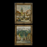 untitled (tyrol cityscape) (+ another; 2 works) by b. jacobshagen
