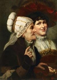 zwei frauen im renaissancekostüm by august wilhelm sohn