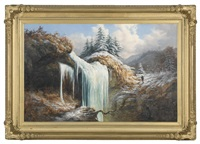 a hunter near a frozen waterfall by william charles anthony frerichs