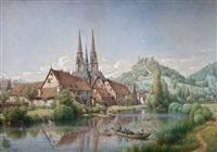 blick auf die alte universitätsstadt marburg mit lahn und umgebenden hügeln by peter becker