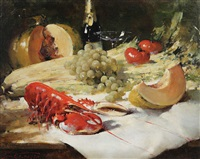 nature morte aux fruits, légumes et homard by simon van gelderen