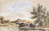 boats on a river bank; and eel nets by the river (illustrated) (2 works) by james stark
