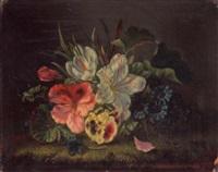 stilleben mit lilien, stiefmütterchen, krokus, fliege und libelle by amalie kaercher