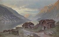 fjordlandskap med gårdsbruk by christian rummelhoff