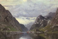 rowing on a fjord by conrad hans selmyhr