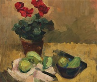 still life with potte plant and pears on a table by carl fischer