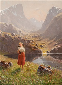 girl by a mountain lake by hans dahl