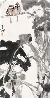 芭蕉麻雀 立轴 设色纸本 by yang shanshen