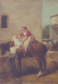 village scene with mother and child on horseback by charles auguste romain lobbedez