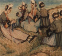 breton women on the dunes by jeka kemp