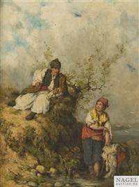 ungarisches bauernpaar an einem seeufer by otto baditz