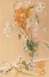 spring bouquet in glass vase by mary clark holderness