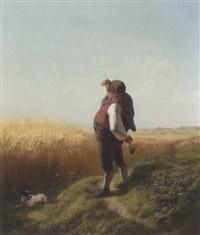 gutsbesitzer blickt über sein reifes kornfeld, vor ihm liegt ein kleiner hund by friedrich wilhelm pfeiffer