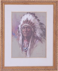 indian with elaborate headdress by harley brown