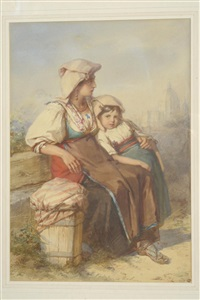 young woman and child on the outskirts of rome by guido bach