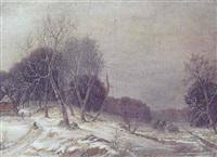 vinterlandskap med hus i skovens udkant by frederik michael ernst fabritius de tengnagel