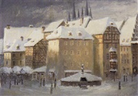 altstadtszene im winter (erfurt?) by karl wohlrab