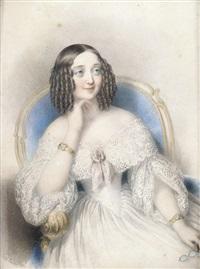 bildnis einer dame in weißem kleid in einem lehnstuhl sitzend by johann nepomuk ender