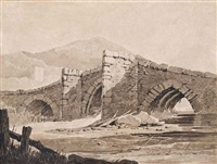 fishermen resting on the coast; and chagford bridge, devon (illustrated) (2 works) by samuel prout
