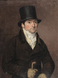 portrait of the jockey francis (frank) buckle (1766 -1832), head and shoulders, wearing a top hat, white cravat, brown jacket and holding a walking cane by thomas arrowsmith