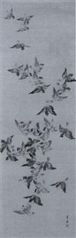 schwarm fliegender spatzen by tamate toshu