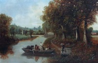 ferry on the severn, near worcester by edward priestley