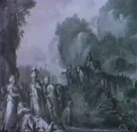 italienische landschaft mit figuren by carlo lodi