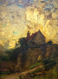 figure on a path leading to a cottage on a crag by james campbell noble