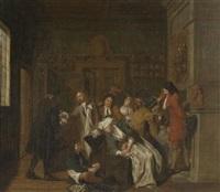 trinkende gesellschaft im salon by philipp (jacob philipp van) santvoort