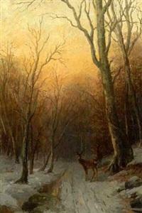 abendstimmung über winterlichem waldweg mit rehwald by richard fresenius