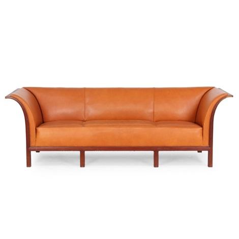 Three Seater Sofa Mounted On Six Legged, Curvy Cuban Mahogany Frame By  Frits Henningsen