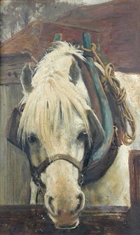 a grey heavy horse watering by frederick george cotman