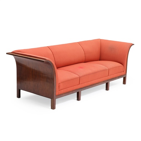 Three-seater mahogany sofa upholstered with red striped fabric by ...