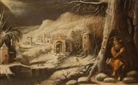 paisaje de invierno con ermitaño by juan de solís