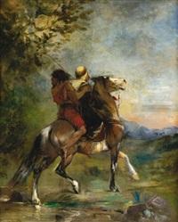arab à cheval portant en croupe un fou by eugène fromentin