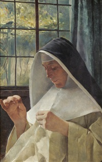 portrait of a nun, sewing beside a sunlit window by tito lessi