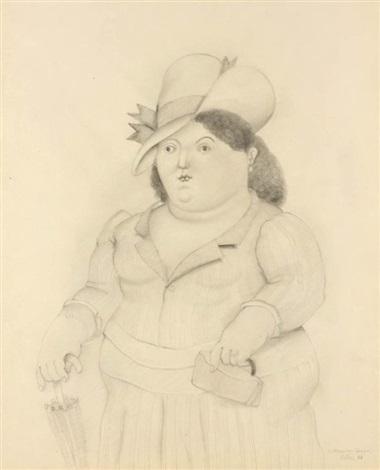 mujer con paraguas by fernando botero