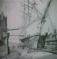 schulschiffim dock by georg lehmann-fahrwasser