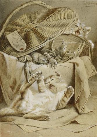 spielende kätzchen an einem korb mit hummern by julius adam the younger
