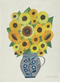 sonnenblumen im steinkrug by max raffler